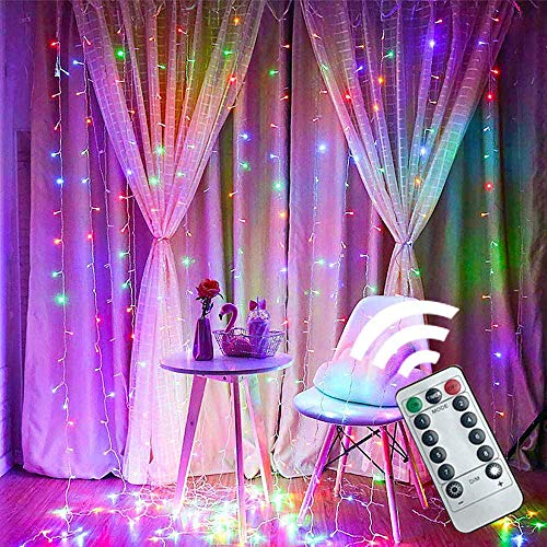 Window Curtain String Lights Fairy String Lights 8 Lighting Modes, IP44 Waterproof Window Lights for Outdoor Indoor, Wedding Decorations, Party, Gazebo, (Color, 10ft*10ft 300 Lights (Remote Control)