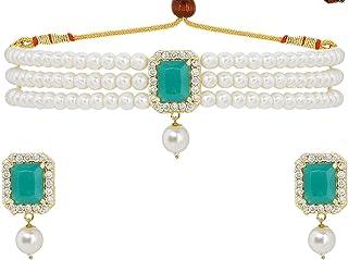 Efulgenz Indian Jewelry Bollywood Crystal Choker Necklace Earrings Wedding Jewelry Set for Women Girls