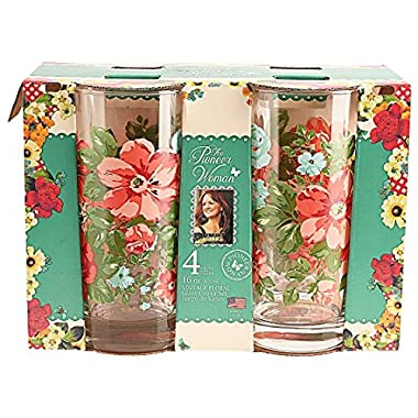 Pioneer Woman Vintge Floral 16 oz.Glass Cooler set Drinking Glasses Cups Tumbler.