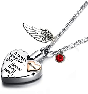 PREKIAR Heart Cremation Urn Necklace for Ashes Angel Wing Jewelry Memorial Pendant and 12 PCS Birthstones No Longer by My Side But Forever in My Heart (Daughter)