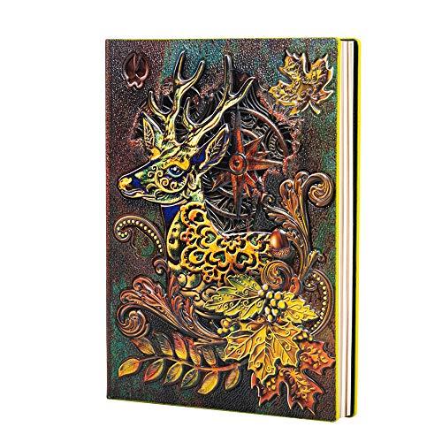 Molshine A5(5.5'x 8.3')Cuaderno Vintage en Relieve,Diario de Cuero Retro Bronce,100 Hojas de Papel de Escribir Forrado,Bloc de Notas de Viaje de Tapa Dura para Colección,Regalo(Alce)