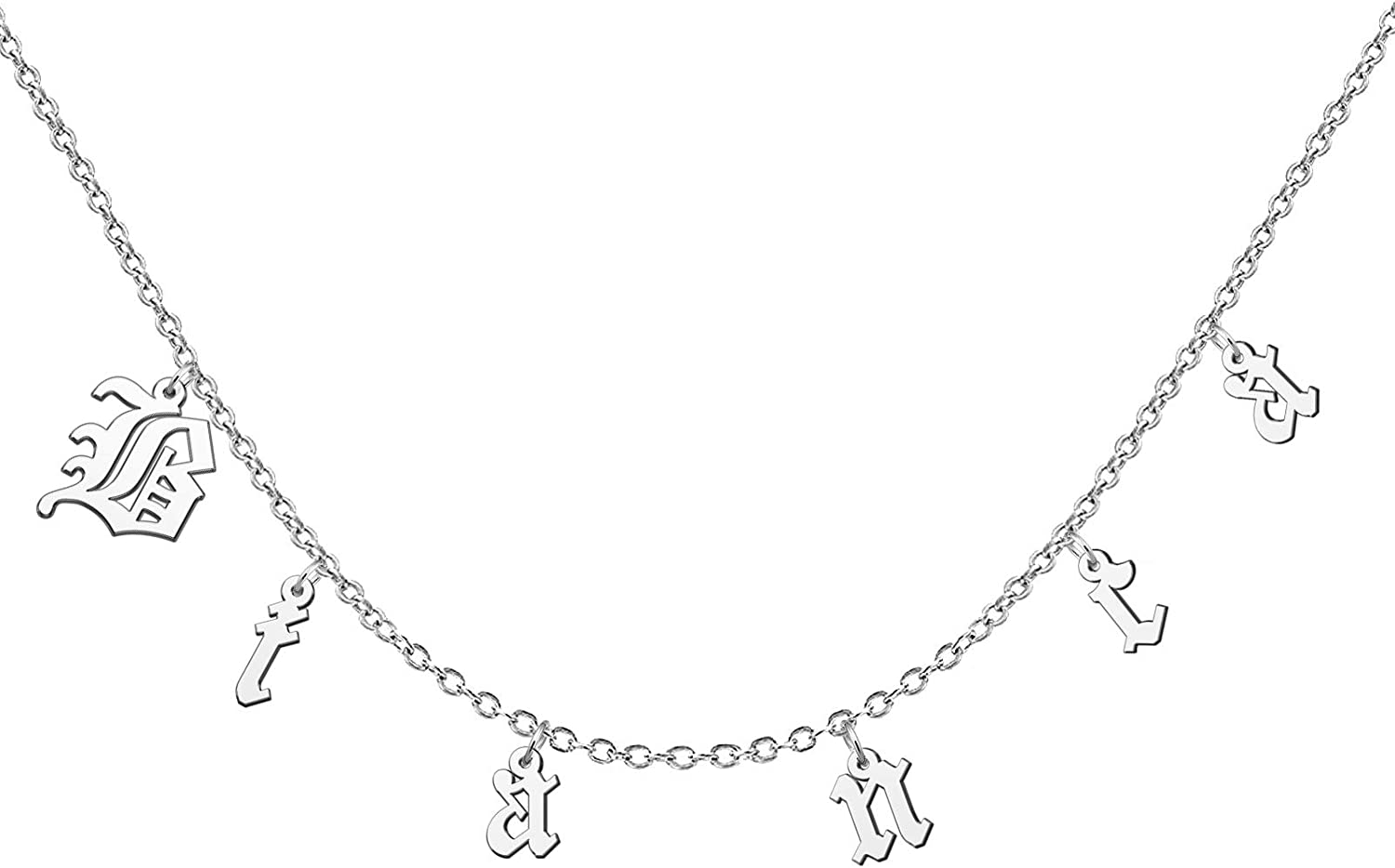 YSAHan Gothic Old English Font initial Name Chain Necklaces Personalized Stainless Steel Jewelry Gift for Women Choker