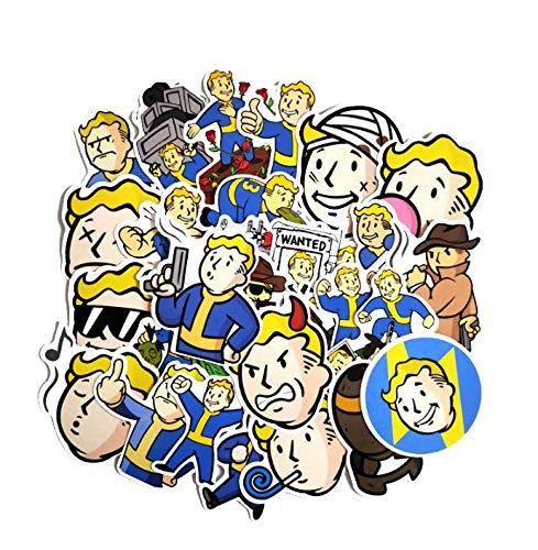 ZJJHX Spiel Strahlung Fallout Pipboy Cartoon Doodle Reise Fall Computer Skateboard Auto wasserdicht Aufkleber 29 Blatt