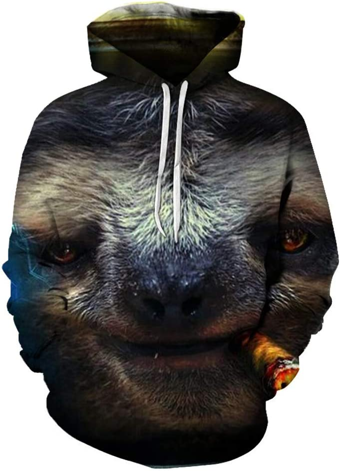 Uwkdjgfhi Outerwear 3D Sloth Leisure Breathable Outwear Simple Design Pullover Men (Color : A13, Size : Medium)