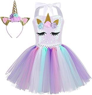Agoky Mädchen Kleid Einhorn Haarreif Bunter Tutu Tütü Rock Cosplay Party Festzug Prinzessin Verkleidung Outfits Weinachten Faschingskostüm