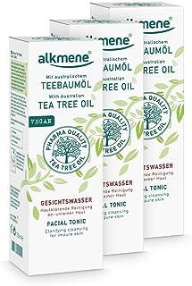 alkmene Teebaumöl Gesichtswasser für unreine Haut - Anti Pickel, Hautunreinheiten & Rötungen - vegane Gesichtsreinigung ohne Silikone, Parabene & Mineralöl im 3er Pack 3x 150 ml