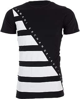 Armani Exchange Diagonal Stripe Mens T-Shirt Premium Slim Fit Black White Designer