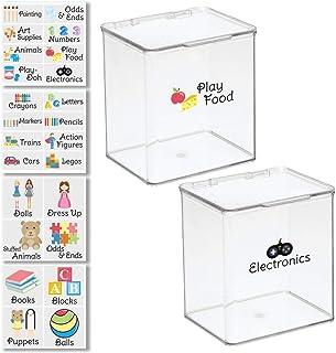 صندوق ألعاب منظم تخزين بلاستيكي قابل للتكديس مع غطاء لأشكال الحركة وألوان الشمع وأقلام التحديد ومكعبات البناء والألغاز وال...