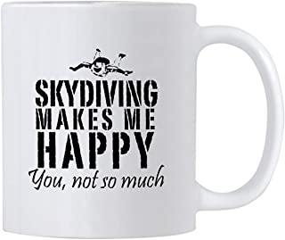Casitika Skydiving Makes Me Happy You Not So Much. 11 oz Skydiver Coffee Mug. Unique Birthday Gift Idea for People That Lo...