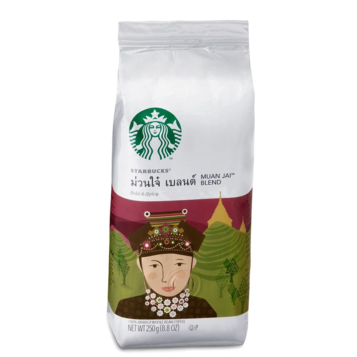 Starbucks Whole Bean- Muan Jai Blend 8.8 Ounce/250g,A bold blend of Arabica coffee from Thailand with lingering, earthy spiciness in the finish zehjdypwjjy8