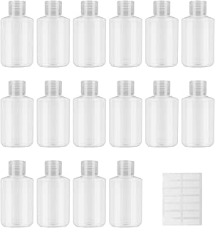 INNOLIFE Flip Cap Squeeze Oval Bottles Plastic Refillable Empty Travel BPA Free Container for Skin Cleanser(16-pack 60ml 2.03oz)