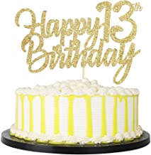 PALASASA Gold Happy Birthday cake topper - Hello 13, Cheers to 13 Years, 13 Anniversary/Birthday Cake Topper Party Decoration (13th)