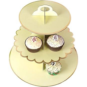 Lumierechat ケーキスタンド ケーキ カップケーキ デザート スイーツ スタンド 紙製 折り畳み式 3段 シルバー ゴールド パーティー a-b2384(3段/ベビーイエロー)