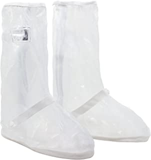 HSEAMALL Rain Shoes Waterproof Shoes Cover Reusable Boots Cover Slip-Resistant Zippered Overshoes Transparent
