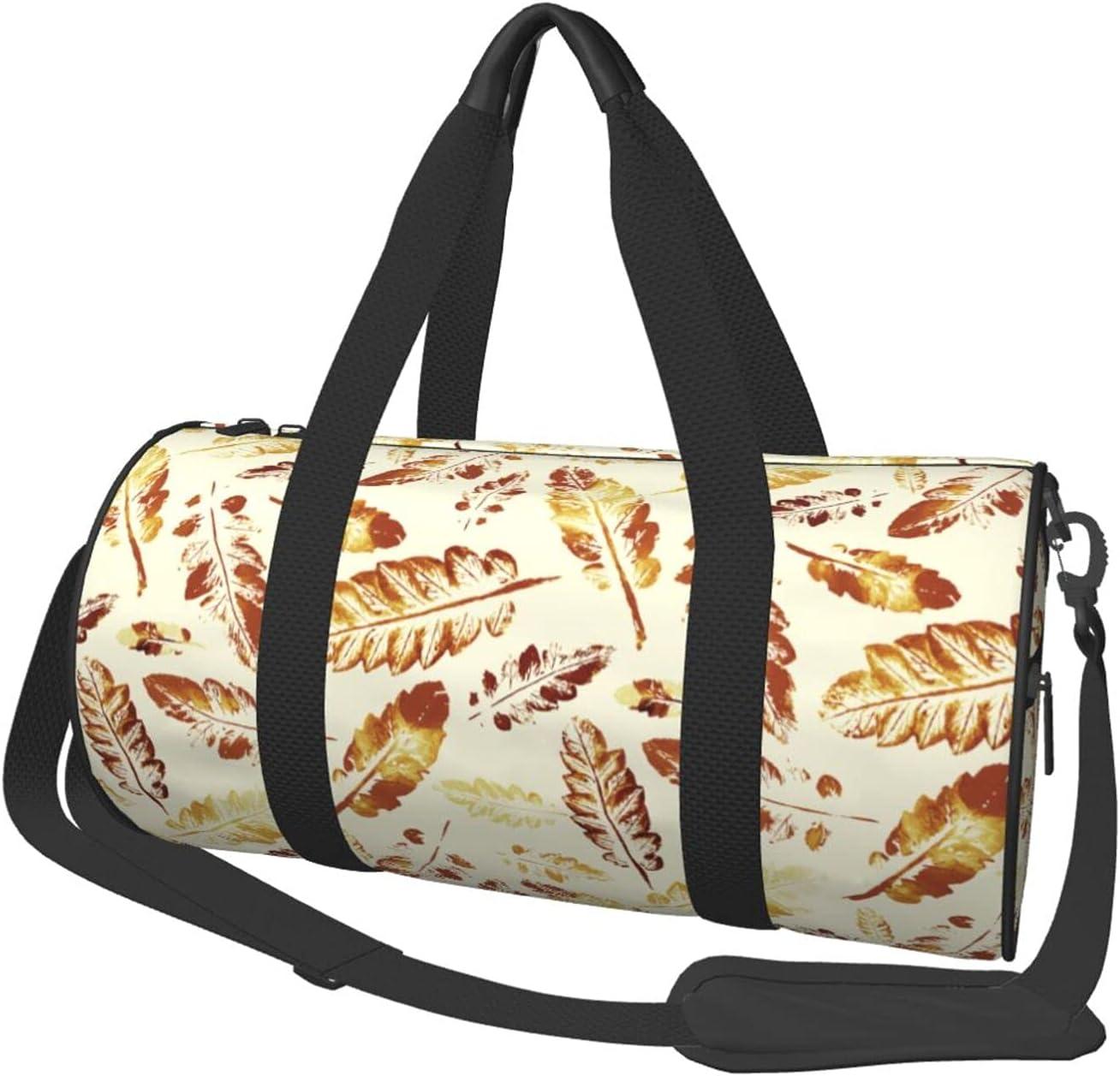 Fredeulva Max 41% OFF Autumn Watercolor Leaves Time sale Duffel Shoulder Canvas Bag Ro