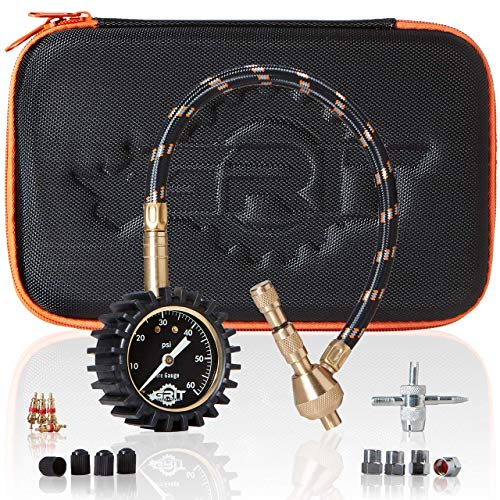 Rapid Air Down Tire Deflator Offroad Kit, PSI Tire Pressure Gauge [Glows in Dark] & Custom Foam Case + Chrome Caps & Valve Core Repair Tool | Quickly Deflate 4x4 Off Road Tires on Truck, ATV,