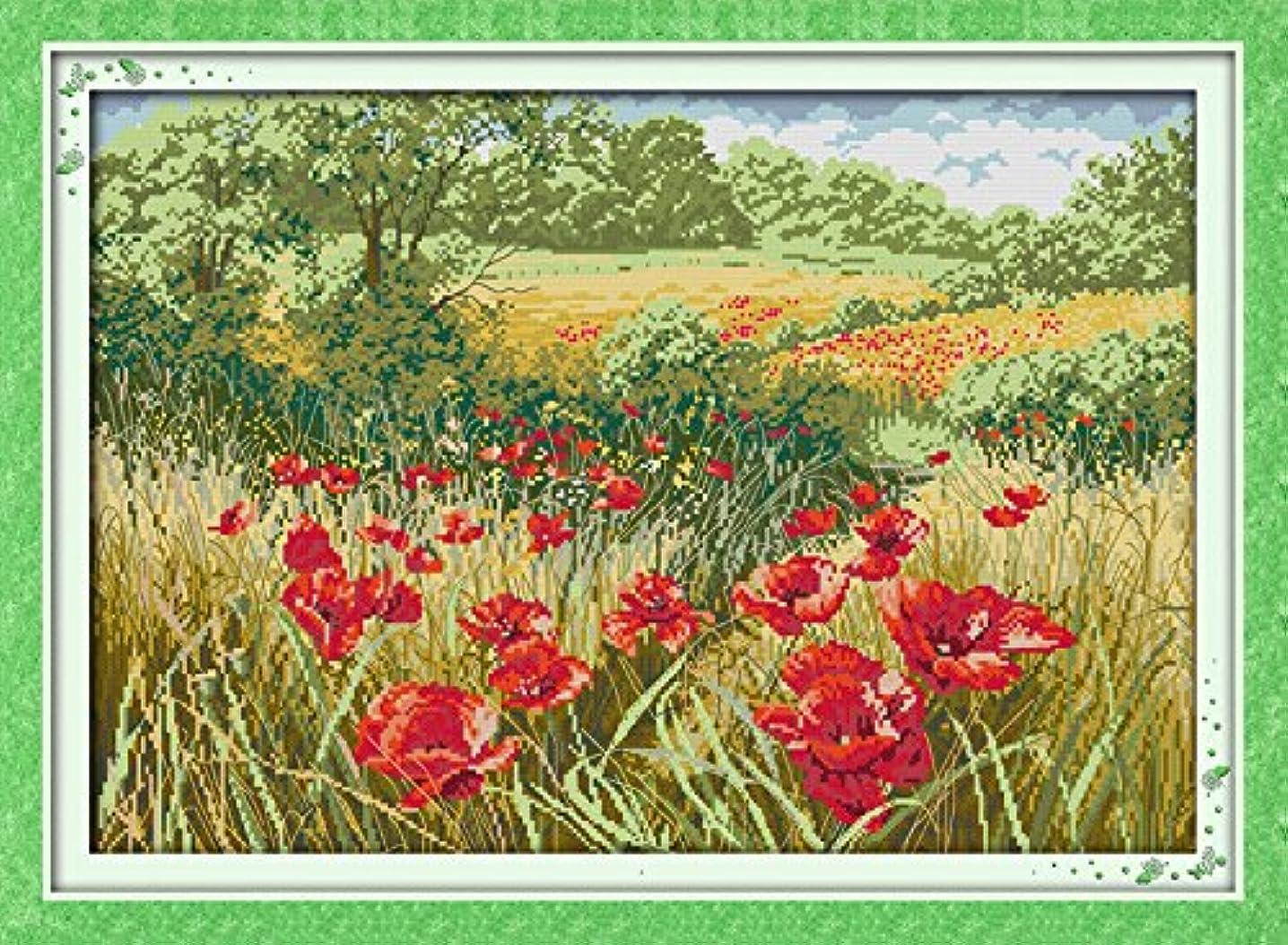 Joy Sunday Cross Stitch Kit 14CT Stamped Embroidery Kits Precise Printed Needlework- Beautiful Flowers (1) 59×43CM