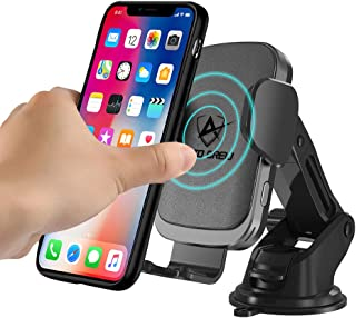 Wireless Car Charger Mount 15W - AutoCrew CC-60 Qi Fast Charging Auto-Clamping Car Mount,Operate FOD Senor, Windshield Dashboard Air Vent Phone Holder Compatible with iPhone, Samsung Galaxy (Brown)