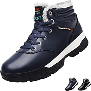 JOYMI Winter Snow Boots Mens Fur Lined Warm Leather Ankle Bootie High Top Hiking Sports Shoes Lace Up Anti-Slip Outdoor Sneaker Waterproof Big Size,Black,Blue,US6.5-US11.5