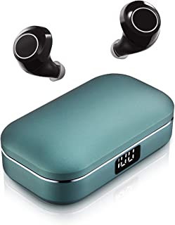 Wireless Earbuds, ICOMTOFIT Bluetooth 5.0 Wireless Headphones with Aluminum Alloy Battery Display Charging Case, Deep Bass Stereo Noise Canceling Earphones in-Ear Built-in Mic for Sports (Green Case)