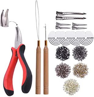 Hair Extensions Kit:I-tip Hair Pliers, Micro Pulling Needle, Loop Threader and 1000pcs Micro Silicone Rings