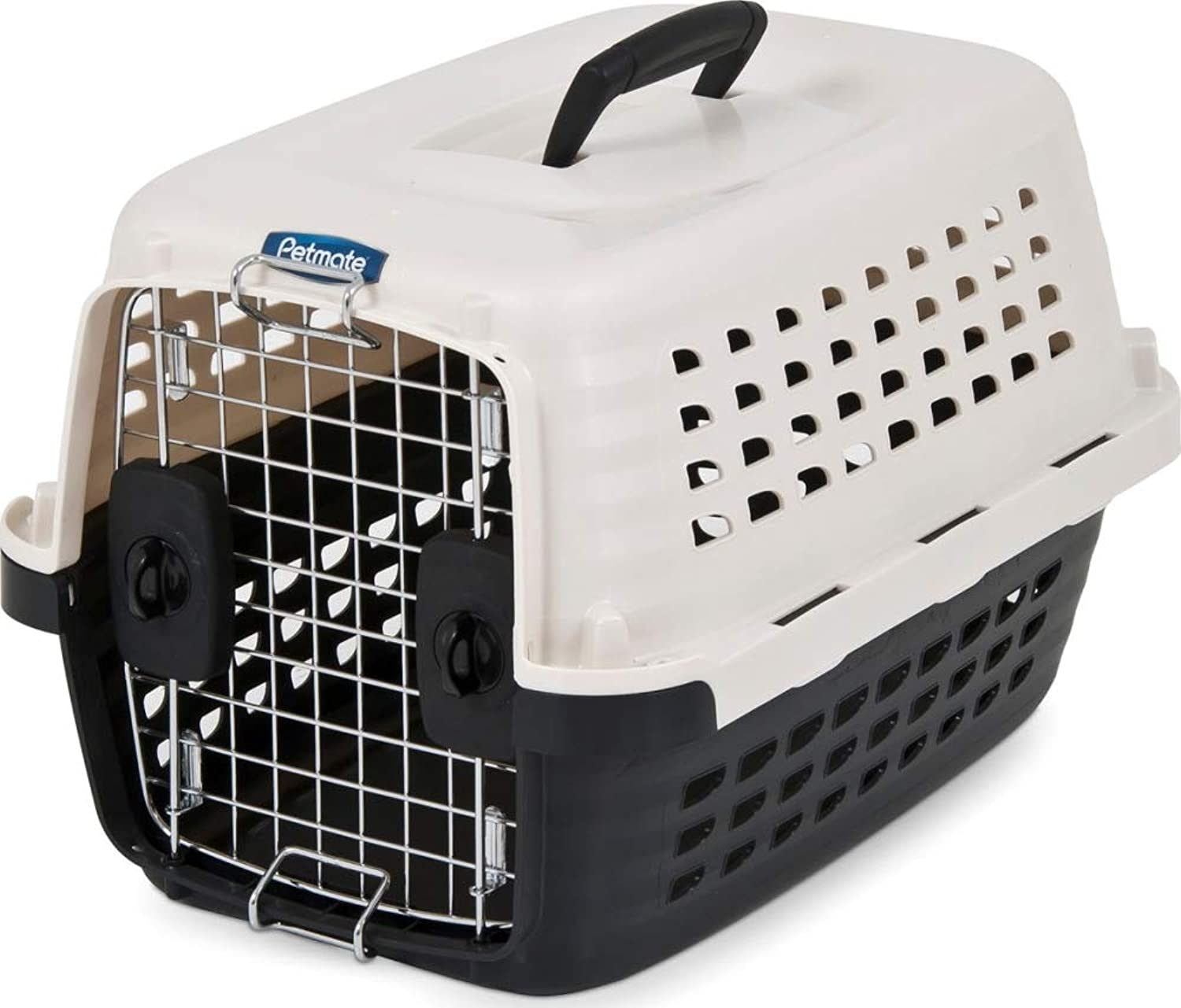 Petmate 41031 Compass Plastic Pets Kennel with Chrome Door, Metallic White Black