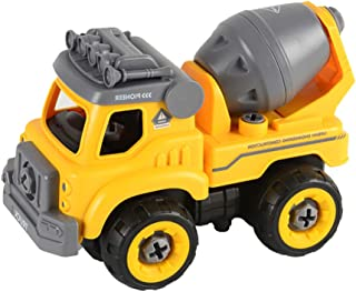 Remote Control Yellow Engineering Vehicle Toy, Elaco Take Apart Toys with Electric Drill Converts 3 in one Construction Truck Toys for Boys Gift