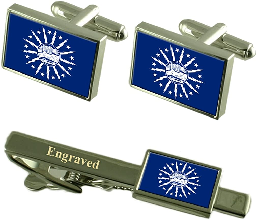 Buffalo City security USA Flag Cufflinks Clip New mail order Tie Set Engraved