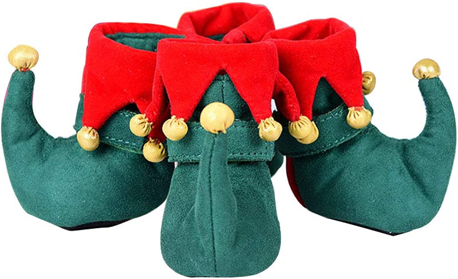 Christmas Dog Walking shoes Pet shoes Suede Puppy Boot Velcro Paw Predector Winter Warm Gift Set of 4,M