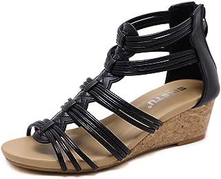 56f1b0c9d3c7de VISIONREST Sandale Compensée Poisson Sandale d'été Spartiates Chaussure  Petit Talon à Lanière
