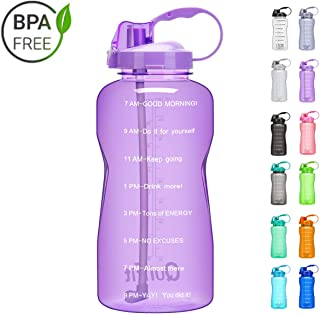 QuiFit Gallon Water Bottle with Straw and Motivational Time Marker BPA Free Reusable Large Capacity Sport Water Jug with Handle Ensure Your Daily Water Intake