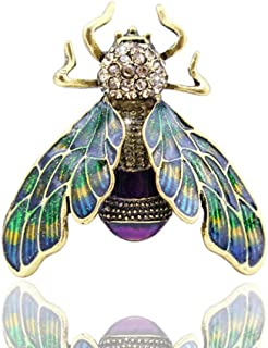 Tvoip Natural Insect Animal Enamel Brooches Bee Bumble Bee Spider Alloy Pins Vintage Jewelry for Women