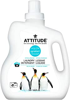 ATTITUDE Hypoallergenic Laundry Detergent, 2x Concentrated, Non-toxic, Vegan, Wildflowers, 60.8 Fluid Ounce, 36 Loads