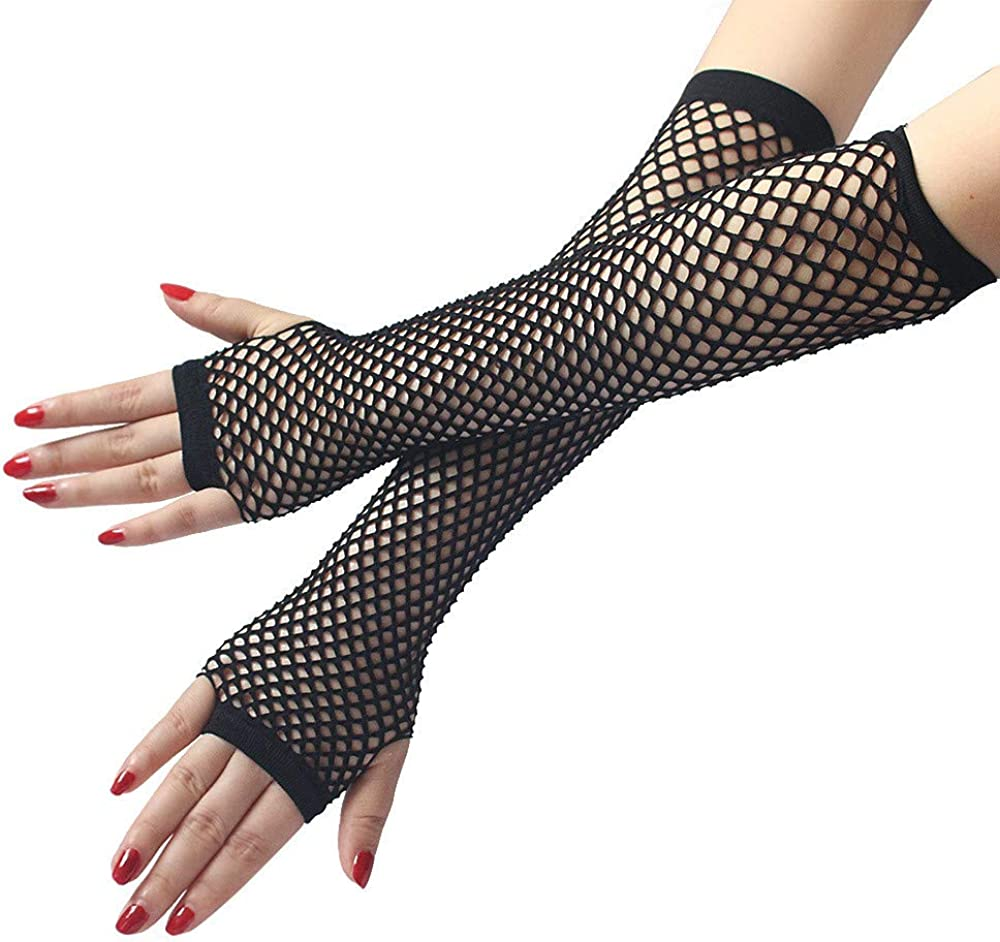 GREFER Women's Hollow Mesh Knit Arm Warmers Fingerless Gloves Thumb Hole Gloves Mittens