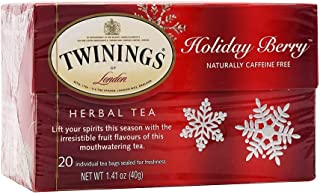 Twinings of London Herbal Holiday Tea - 1 Box, 20 Count Organic - Blend of Rosehip, Hibiscus, Orange and Blackberry Leaves...