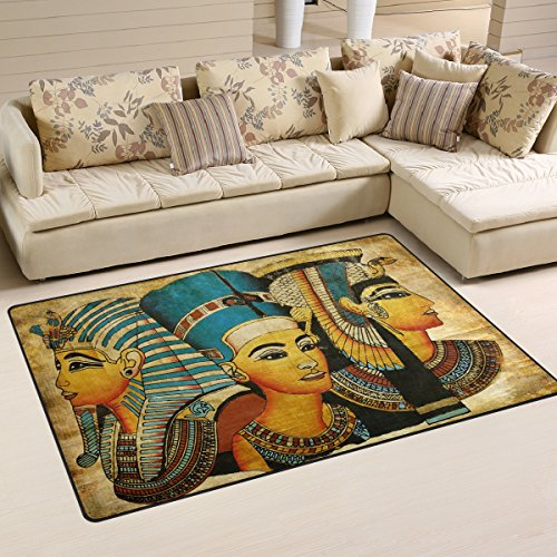 Yochoice Non-slip Area Rugs Home Decor, Vintage Ancient Egyptian Parchment Floor Mat Living Room Bedroom Carpets Doormats 60 x 39 inches