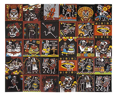 Catrina - Piastrelle Messicane Patchwork | 30 piezzi 10,5x10,5 cm | Mattonelle colorati, decorati | Specchio da parete cucina, bagno, WC | Motivi Morti, scheletri