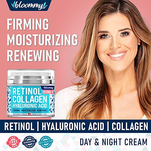 61a +Hnv3zL - Collagen & Retinol Cream for Face with Hyaluronic Acid - Collagen Anti Aging Cream - Retinol Moisturizer for Face - Made in USA - Anti Wrinkle Facial Cream - Day & Night Moisturizer for Face