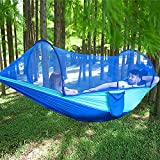 LFL Camping Hammock with Mosquito Net, Hammocks with 13ft Tree Straps Carabiners, Automatic Quick Open Outdoor Portable Hammock, Nylon Parachute Material Hammocks, Blue