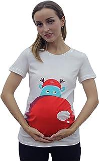 GZ-VMASS تي شيرتات الأمومة للنساء الحوامل أبيض تي شيرتات عادية لطيف ماما ملابس الحمل