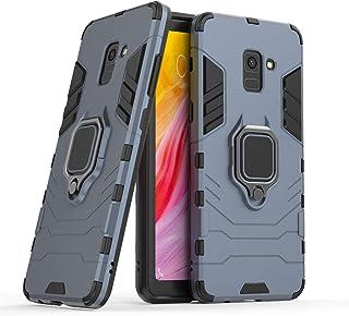 جراب متوافق مع هاتف Galaxy A8+ (2018)، حامل معدني صلب مقاوم للصدمات (يعمل مع حامل السيارة المغناطيسي) غطاء متين بطبقة مزدو...