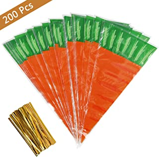 FOCCTS 200Pcs Easter Carrot Cone Cello Bags Carrot-Shaped Goody Bags, Carrot Shaped Plastic Treat Bags Bunny Party Favors for Kids