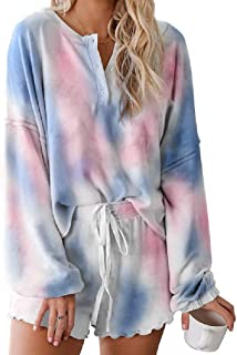 KLJR Women Tie Dye Print Long Sleeve V Neck T Shirts Drawstring Shorts Pajama PJ Sets