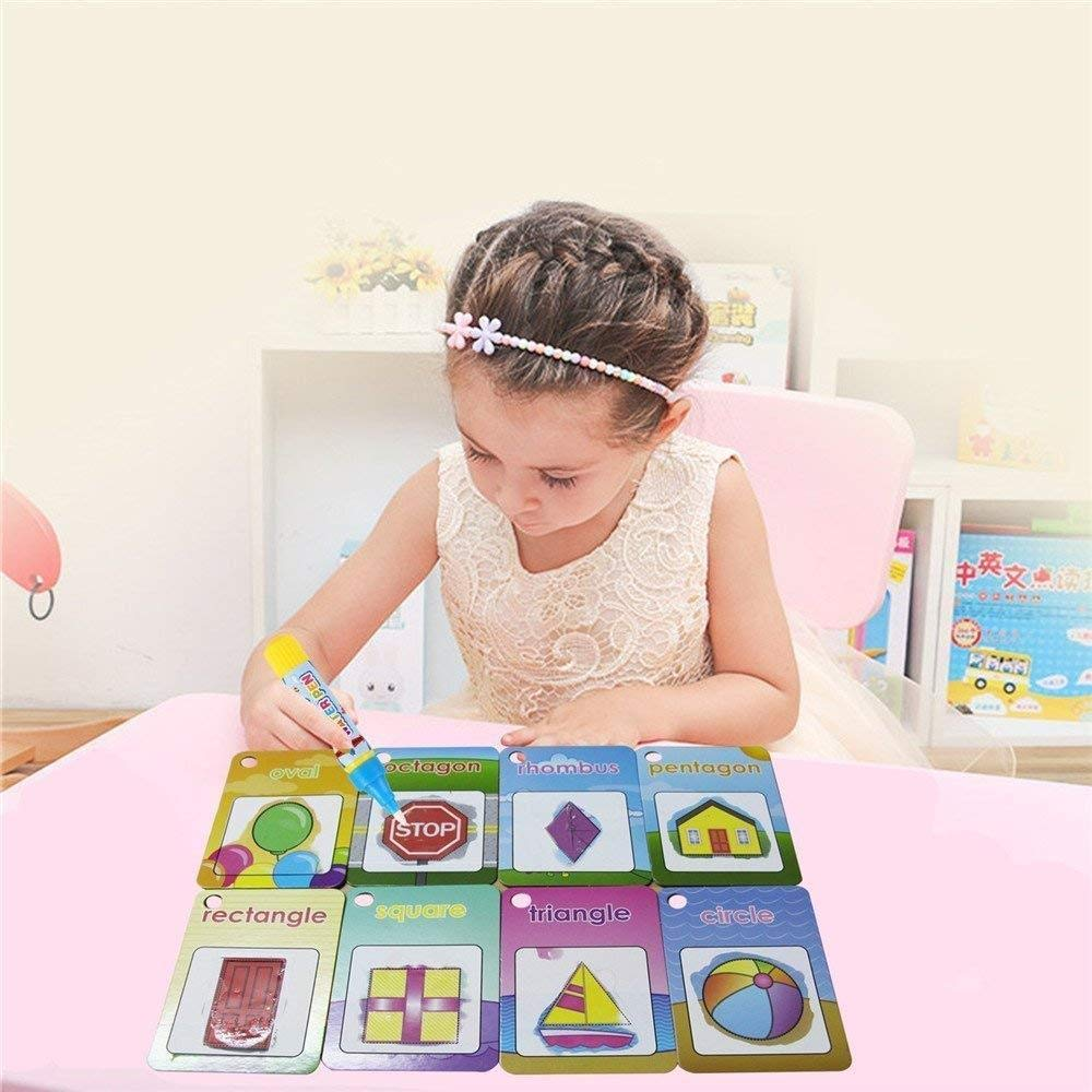 Mumoo Bear Water Painting Graffiti Book Card 26pcs Chidren's Early Education Cognitive Cards 1-9 Number Colors and Shapes Colouring Doodle Board + 2 Magic Drawing Pens Games Toy for Toddlers Kids Baby
