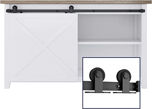 """new arrival SMARTSTANDARD 5FT Mini Sliding Barn Door Hardware Track Kit high quality -Super Smoothly and Quietly -Used discount for Cabinet, TV Stand, Closet, Window -Fit 30"""" Wide Door Panel - T Shape Hanger (NO Cabinet Included) outlet online sale"""