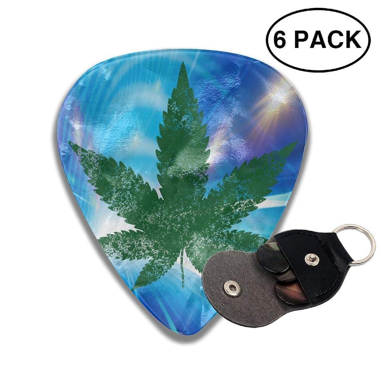 CUTEDWARF 6 Pieces of Personalized Guitar Picks Cannabis Leaf Print