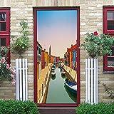 QWEFGDF Etiquetas engomadas de la puerta del dormitorio 3D Venecia para Salón Dormitorio Autoadhesivo PVC Papel Pintado Arte De La Puerta Adhesivos para puertas.91 x 203 cm