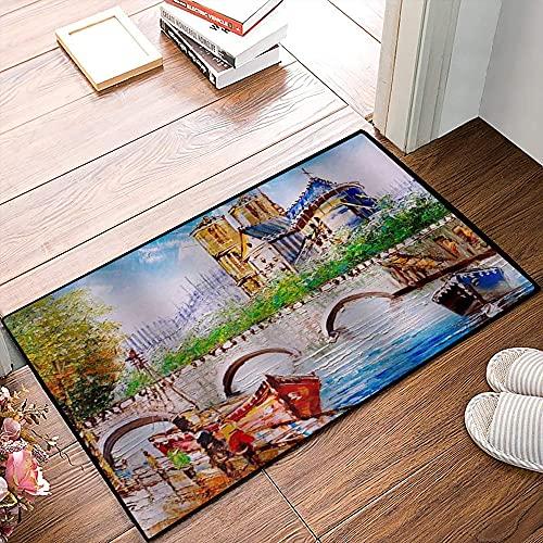 QDYLM Alfombra de baño de Microfibra esponjosa,Puente sobre el río Sena en la Calle Paris Paris francés Vintage Acuarela Pintura alfombras de Ducha de Suave Absorbente de Agua, 40x60 cm