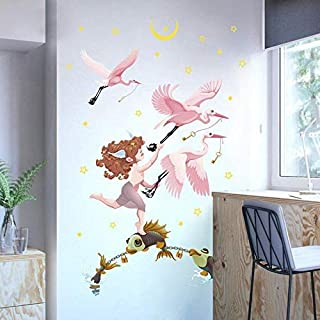 ZYZSLM Little Angel Chasing Pink Elegant Crane Living Room Classroom Kindergarten Holiday Decoration Reusable Wall Sticker