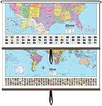 US/World Advanced Political Classroom Combo Wall Map on Roller w/ Backboard